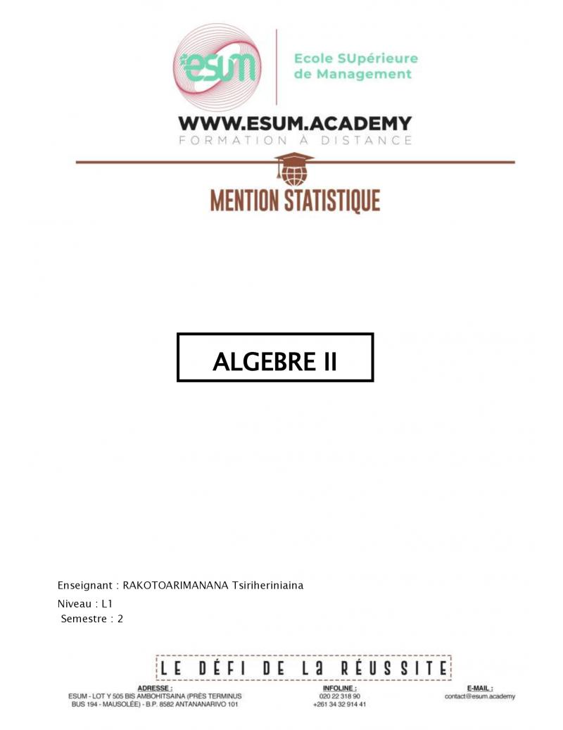 Algèbre II