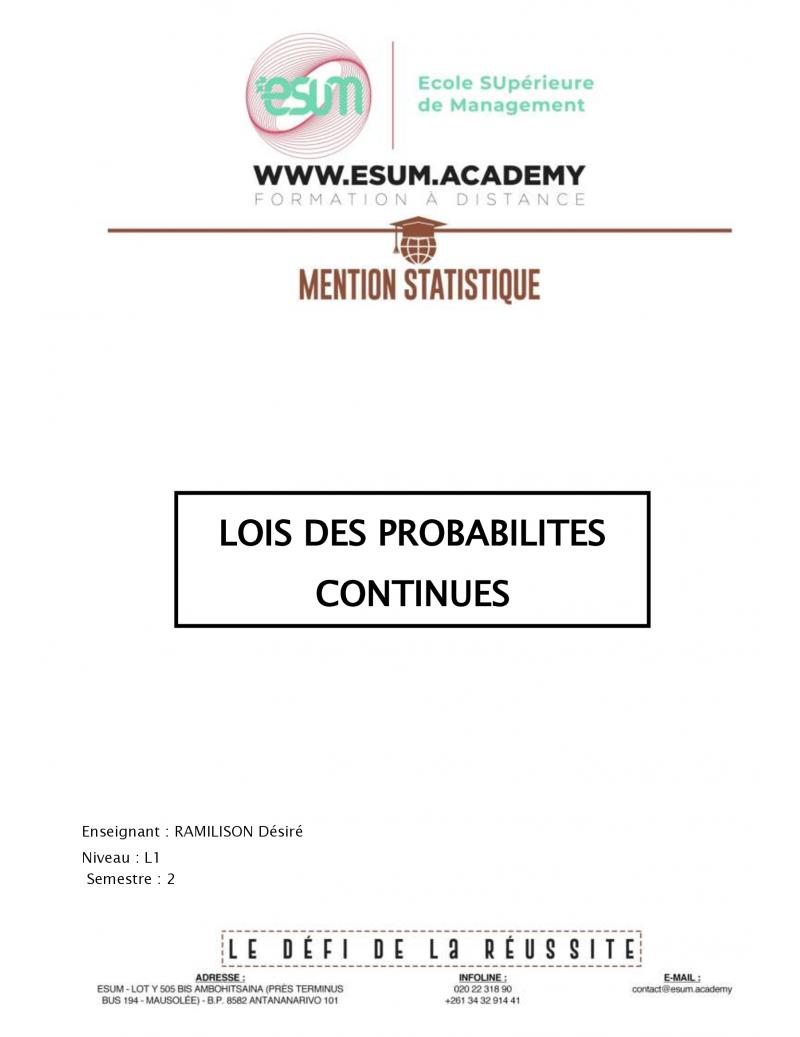 Lois des probabilités...