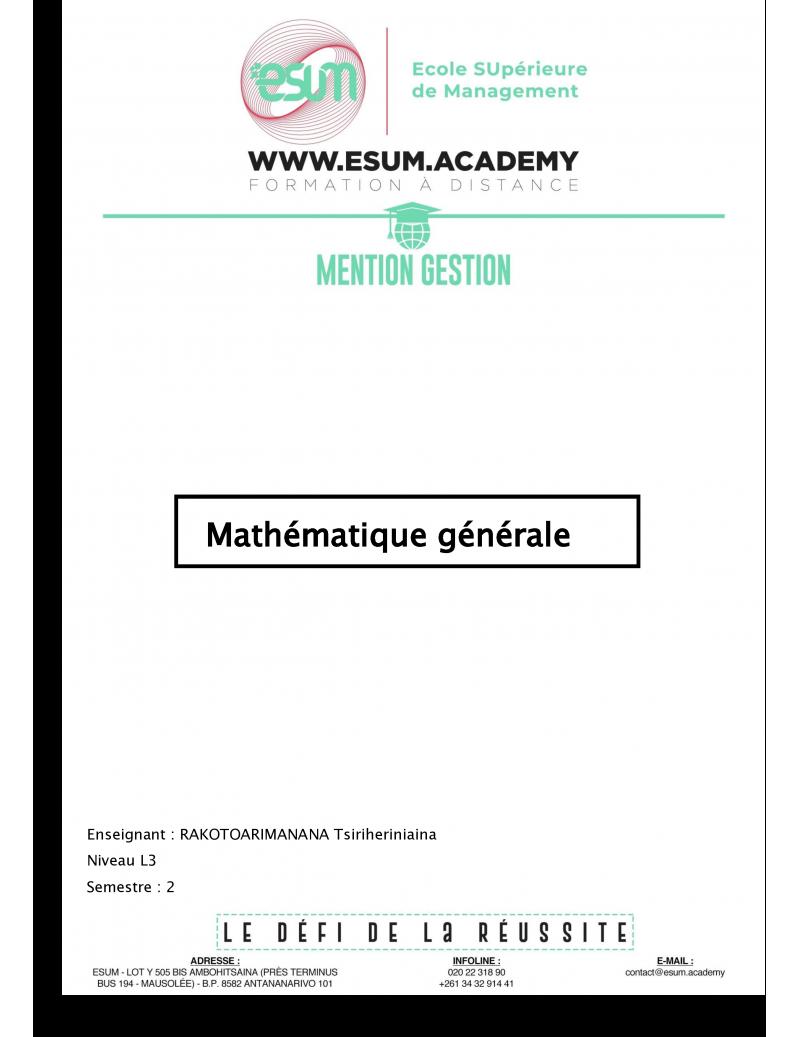 Mathématique générale