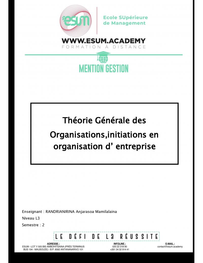 Initiation en organisation...