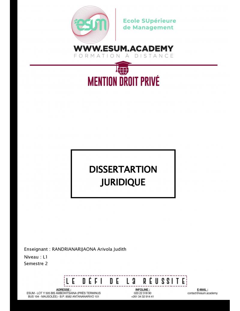 Dissertation juridique