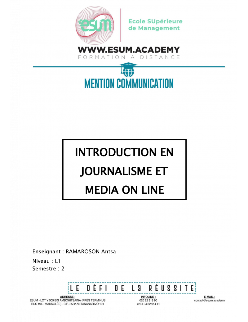 Introduction en journalisme...