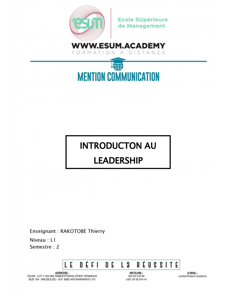 Introduction au leadership