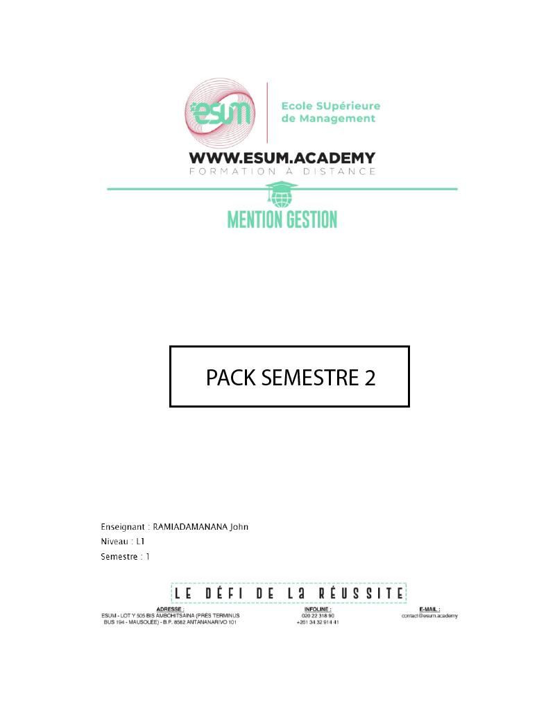 Cours Mention Gestion L1 - S2