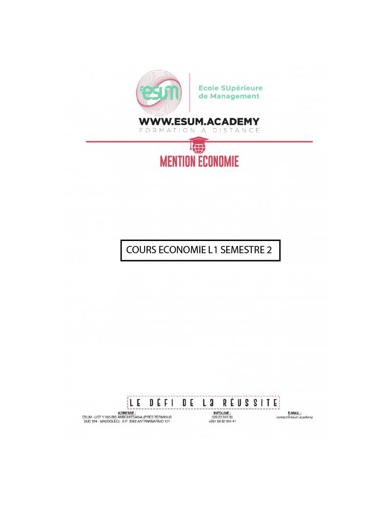 Cours Mention Economie L1-S2