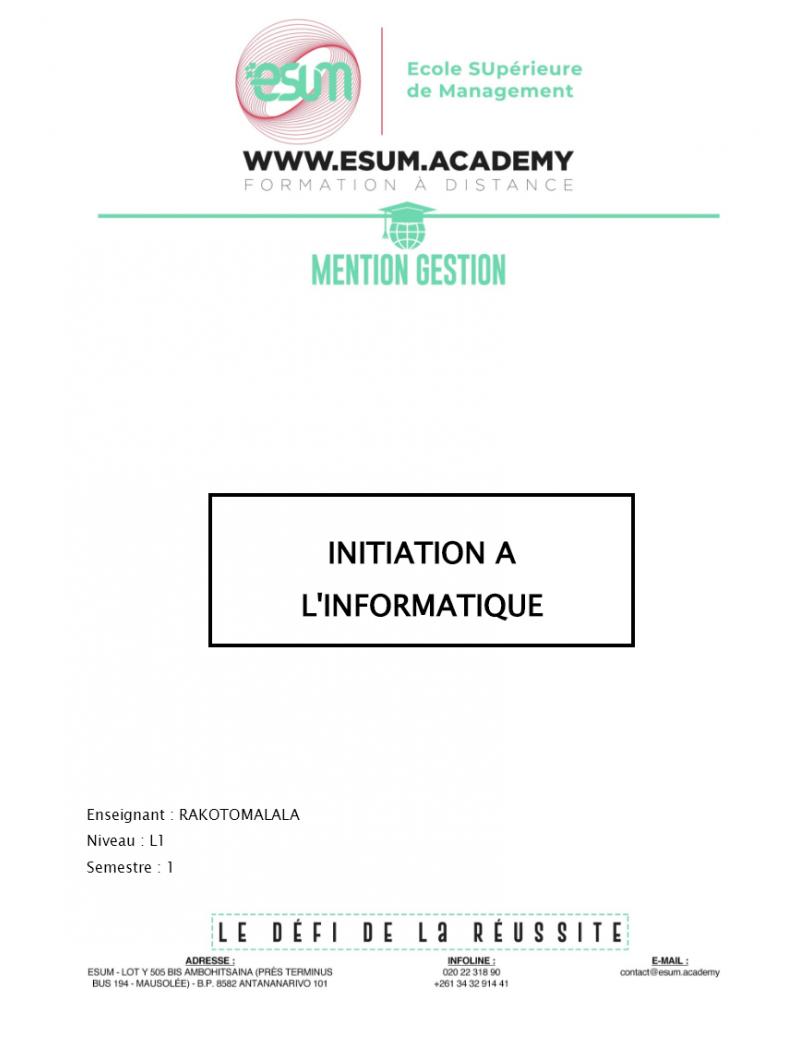 Initiation Bureautique