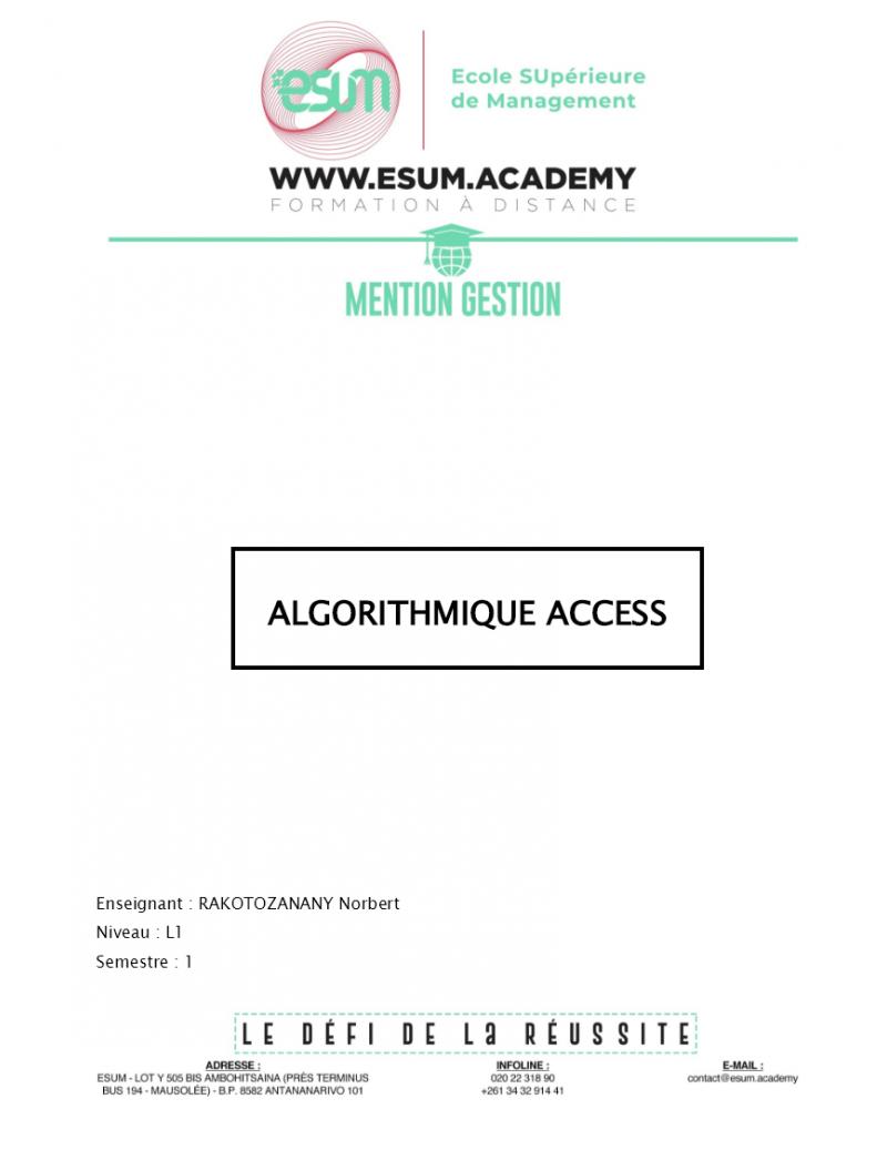 Algorithmique access