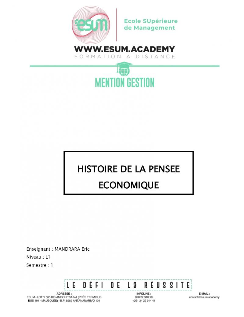Histoire de la Pensée...
