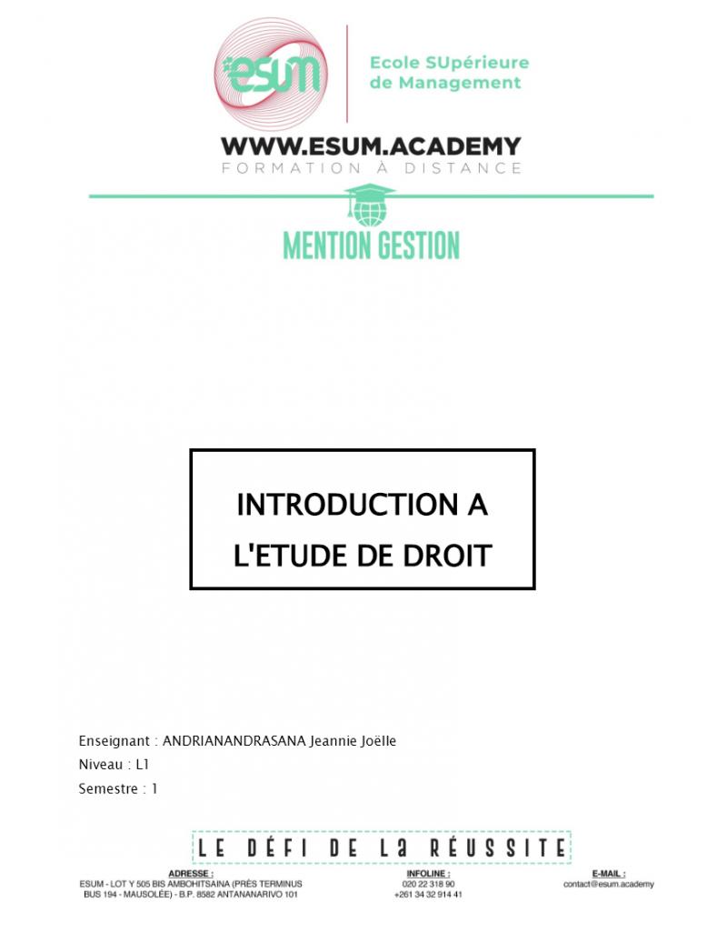 Introduction à l'Etude du...