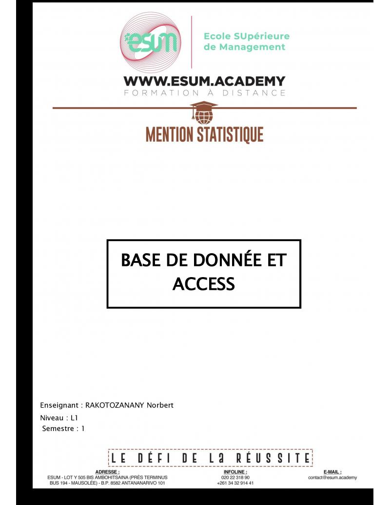 Base de données et Access