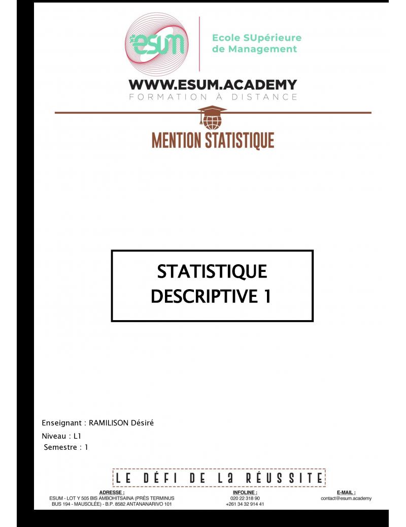 Statistique descriptive I